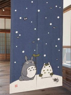 Winter Snow Totoro Linen Noren $35.00 http://thingsfromjapan.net/winter-snow-totoro-linen-noren/ #totoro noren #my neighbor stuff #studio ghibli stuff #ghibli item