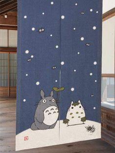 Winter Snow Totoro Linen Noren $35.00 http://thingsfromjapan.net/winter-snow-totoro-linen-noren/ #totoro noren #my neighbor stuff #studio ghibli stuff #ghibli item