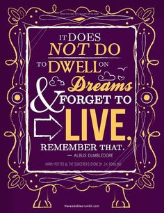 """It does not do well to dwell on dreams and forget to live.""  - Dumbledore   So true, dream, but live and enjoy while you're working toward them."
