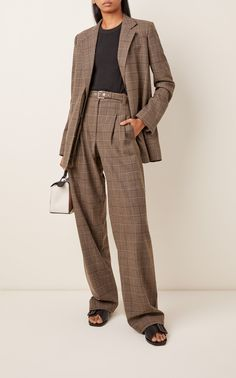 Belted Checked Wool-Blend Straight-Leg Pants by Proenza Schouler Classy Outfits, Cool Outfits, Suit Fashion, Fashion Outfits, Formal Suits, Blazer Outfits, Straight Leg Pants, Proenza Schouler, Suits For Women
