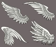 Vector illustration of Cartoon wings collection set Ange Anime, Tatoo Symbol, Doodle Drawing, Raven Wings, Wings Design, Desenho Tattoo, Angels And Demons, Free Vector Art, Tattoo Drawings