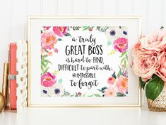 Office Decor, A truly great boss is hard to find, Boss Gift, Landscape, Going Away Retirement Gift, Great Boss, Artwork, Motivational Print
