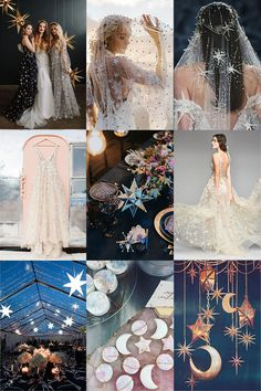 Bridal trends written in the stars 8 romantic winter wedding color combos for 2018 Galaxy Wedding, Starry Night Wedding, Moon Wedding, Celestial Wedding, Fall Wedding, Dream Wedding, Winter Themed Wedding, Midnight Wedding, Nautical Wedding