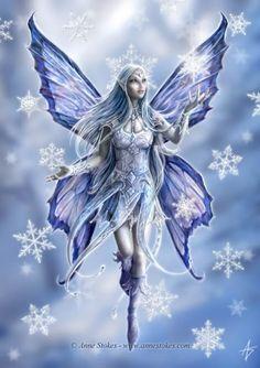 Fantasy Art - Snow Fairy by Anne Stokes Anne Stokes, Snow Fairy, Winter Fairy, Winter Magic, Fantasy Kunst, Fantasy Art, Fantasy Fairies, Unicorn Fantasy, Real Fairies