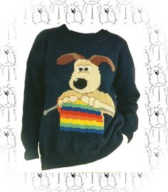 Wallace and Gromit knitting Gromit crew neck by CollectableMrJones