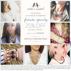 Friends + Family Sale is on now! Click through to shop the entire boutique with code FFHOL15 at checkout!