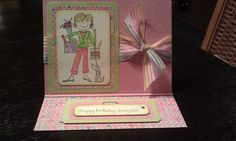 Handmade Easel Birthday Card with a stamped and watercoloured image