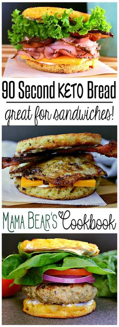 A super easy to make, deliciously cheesy and low carb bread for burgers, sandwiches and more, this 90 Second Keto Bread is ready in minutes, perfect for quick sandwiches on the go and more! #lowcarb #keto #sandwiches #bread #mamabearscookbook