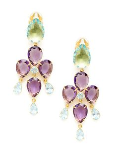Gilt Groupe.   Amethyst and blue topaz chandelier earrings.  239.