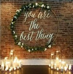 rustic indoor candle wedding backdrop