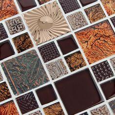 Red Glass Tile Brown Glass Mosaic Tiles Crystal Glass Tile Kitchen  Backsplash Wall Tiles Porcelain  