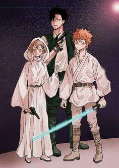 CROSSOver haikyuu- star Wars.  Hinata Shoyo as Anakin Skywalker, Hitoka Yachi as Princess Leia & Tetsito Kuro as Han Solo
