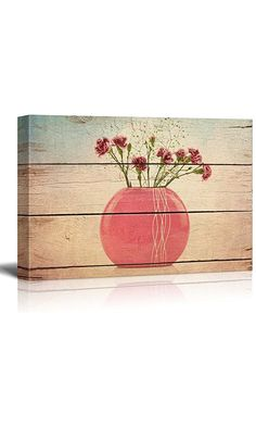 Wall26 - A pink vase holds Purple and Maroon Flowers - Pastels Colorful Beautiful - Wood Grain Antique - Canvas Art Home Decor - 16x24 inches Best Price
