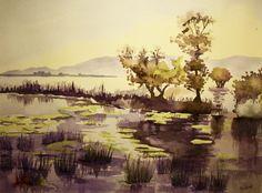 Purple Lake - Acquerello su Carta - 34 x 25 cm