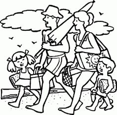 Together With Family Summer Vacation coloring picture for kids Summer Coloring Sheets, Beach Coloring Pages, Family Coloring Pages, Spring Coloring Pages, Online Coloring Pages, Free Printable Coloring Pages, Colouring Pages, Coloring Pictures For Kids, Coloring Pages For Kids
