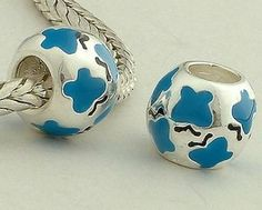 CLDY013E 925 Sterling Silver Light Blue Enamel Flowers Pandora Charms beads on sale,for Cheap,wholesale