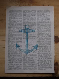 Vintage Anchor in Aqua Dictionary Page Print by ThePaperSnail, $6.00