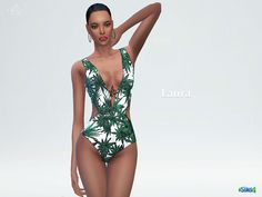 Printed with tropical palms, this swimsuit has a deep plunging neckline and cutout sides. Pair it with a wide-brim hat. Found in TSR Category 'Sims 4 Female Swimwear'