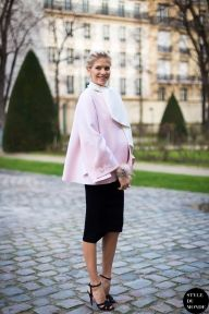 Lena Perminova, Russian model, wearing pink cape and black pencil skirt. Follow me on Instagram @Style DuMonde, Pinterest, Twitter, Tumblr and Facebook