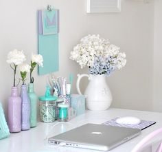 chic work desk- love the pastel colors