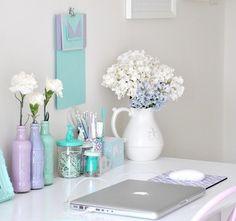 chic work desk- love the pastel colors