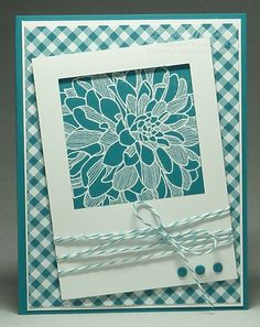handmade card ... Regarding Dahlias with a peek-a- boo window   ... monochromatic Island Indigo  with white ... luv how all the elements stand out in in spite of being only one color ... flower white embossed on solid cardstock ... window frame in white with three candy dots and baker's twine  in blue ... gingham print background paper ... like this card! ...Stampin' Up!