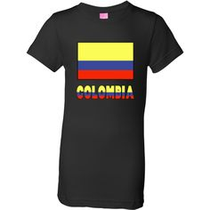 """Colombia Flag & Word - Black Border Youth Girls T-Shirt - Black - Cheerful design shows the Colombian Flag with the word or name """"COLOMBIA"""" below, in the colors or colours of the flag. Shows here with a black border for lighter products.<br /><br /> Some products may make great teaching tools or aids for creative teachers.<br /><br /> Wonderful for honoring and sharing your love and pride in your Colombian ethnic heritage, ancestry and culture, too. Also, fun for travelers as a bon voyage…"""