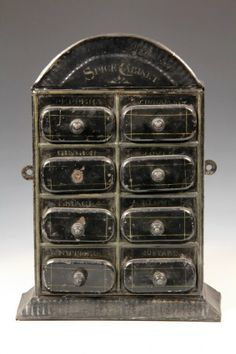 tin spice cabinet, most likely Germany, c.1870-80