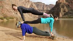 3 person plank yoga at the bottom of the grand canyon, alongside the Colorado river! 3 People Yoga Poses, Three Person Yoga Poses, 2 Person Yoga, Group Yoga Poses, Couples Yoga Poses, Acro Yoga Poses, Yoga Poses For Two, Partner Yoga Poses, Easy Yoga Poses