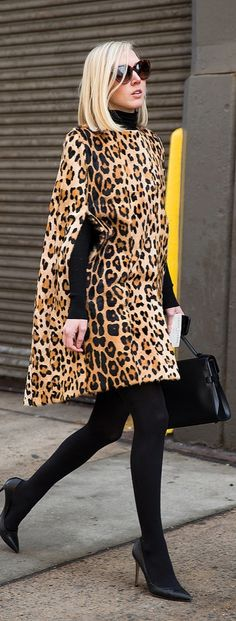 NYFW street style: Leopard print cape