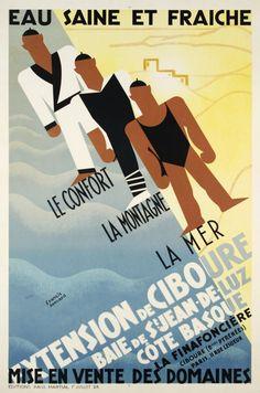 Extension de Ciboure, Baie de St-Jean de Luz, Côte Basque, Eau Saine et Fraiche - Vintage travel poster - Plage Affiche #art #deco #essenzadiriviera www.varaldocosmetica.it/en