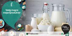 Vælg magre mejeriprodukter! Vi er blevet bedre til at drikke mager mælk, men vi spiser for meget af de fede oste. Mejeriprodukter indeholder både protein og mange forskellige vitaminer og mineraler, og er blandt andet også en vigtig kilde til calcium.  Læs mere på www.frugtkurven.dk