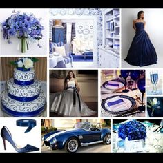 Ideas for my sapphire wedding. I'd do this but less blue there'd be like purple and silver with black accents :)