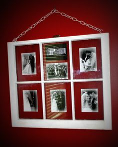 Old window frame with my wedding pictures ! good idea for my old window that I have had sitting on my back porch waiting to something good to use it for!