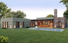 Estudio NF y Asociados Small Modern House Plans, Best House Plans, Dream House Plans, House Outside Design, House Front Design, Modern House Design, House Design Pictures, Modern Bungalow House, Modern Architecture House