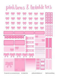 PinkBowsTwinkleToes Free Printable: Pink Bow Planner Stickers