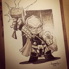 Chibi Thor con sketch! This is a little party trick he wanted me to share with you. Another fun request!