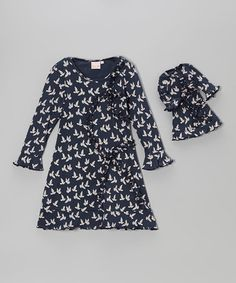 Take a look at this Navy Dove Ruffle Dress & Doll Dress - Toddler & Girls by 4EverPrincess on #zulily today!