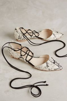 Snakeskin lace-up flats (from Anthropologie)