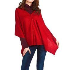 Red Knit Versatile Button Up Scarf Shawl Wrap Luxury Divas. $19.99