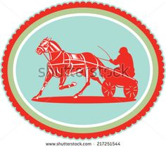 Illustration of a horse and jockey harness racing set inside oval rosette shape on isolated background done in retro style. - stock vector #horseracing #retro #illustration