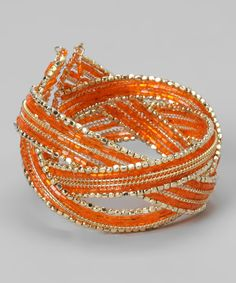 Take a look at this Orange & Gold Crisscross Cuff on zulily today!