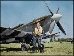 F/L Sidney Bregman from Toronto and his 441 Squadron RCAF Spitfire IX, 9G-Q MJ627 at B70 Airfield, Belgium, September 1944. (He died on February 9 2014)