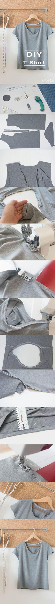 DIY FASHION ^ DIY T-SHIRT ^ SELFMADEFASHION ^ T-SHIRT NÄHEN (Diy Clothes)