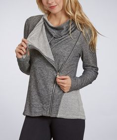 Another great find on #zulily! Heather Charcoal Asymmetrical-Zip Cowl Neck Jacket #zulilyfinds