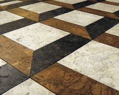 "Create a soft surface floor with whitewashed, golden oak and sable cork tiles ($8 per square foot) made from recycled wine corks, water-based stain and finish. You can custom cut decorative shapes to form a ""21"" pattern.  Globus Cork, CorkFloor.com."