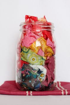 cool way to store fabric scraps