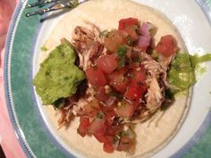 Pulled chicken and bean + salsa and guacamole soft tacos (with Corona [not pictured] for Cinco de Mayo).