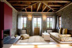 Kipi Suites booking in Zagori. Boutique hotel rooms for rent in Zagori. By Aria Hotels. Boutique Hotel Room, Rooms For Rent, Cosy, Curtains, Traditional, Living Room, Interior Design, Luxury, Furniture