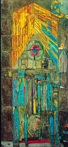 Friedensreich Hundertwasser 143 Cathedral II September 1953 Oil and casein on two joined sheets of plywood primed with chalk, zinc white and fish glue 46 1/8 x 21 5/8 in.